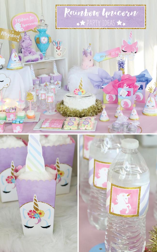 Unicorn And Rainbow Party Ideas  Magical Rainbow Unicorn Party Supplies Marshmallow Pop