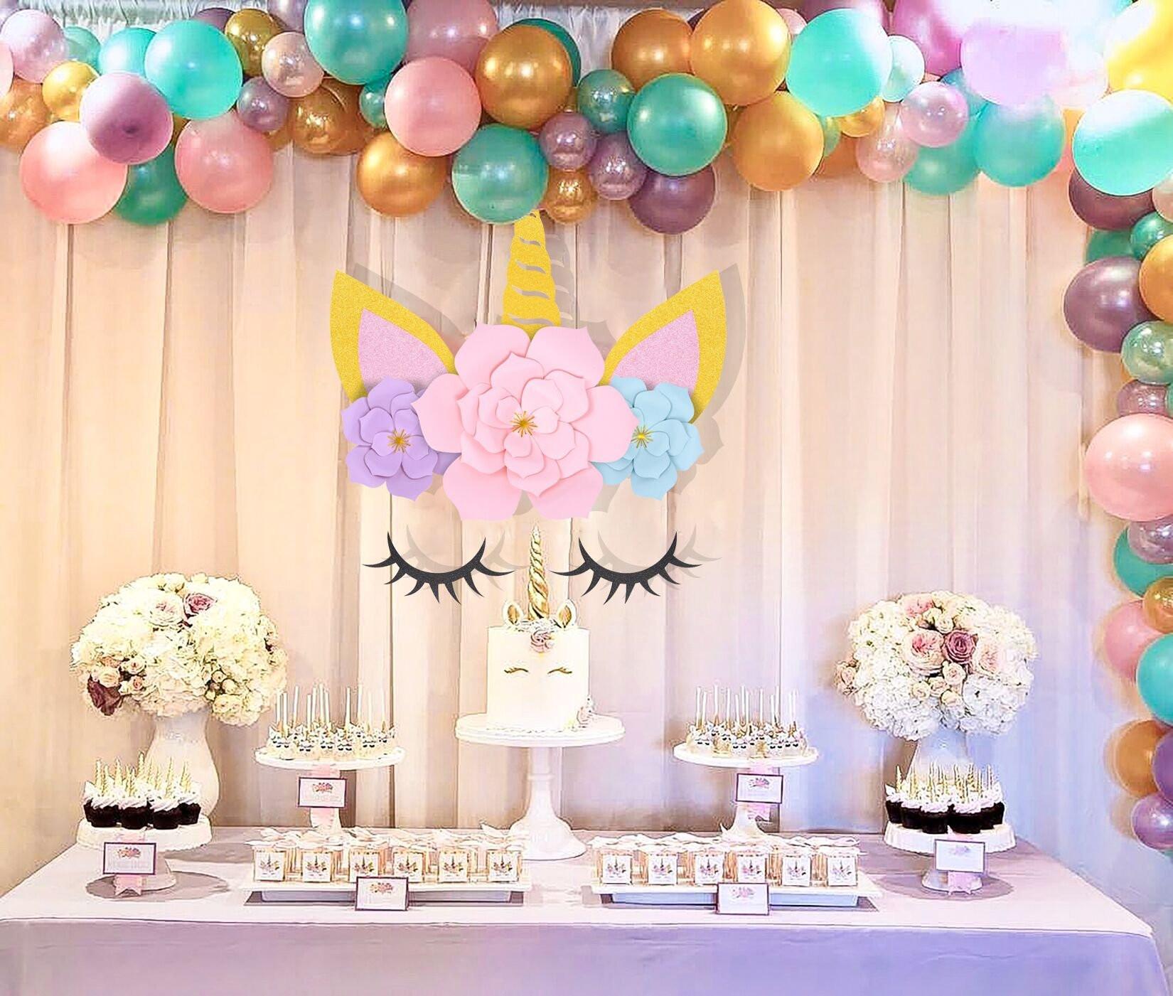 Unicorn Party Centerpiece Ideas  MORDUN Unicorn Party Supplies and Decorations Backdrop for