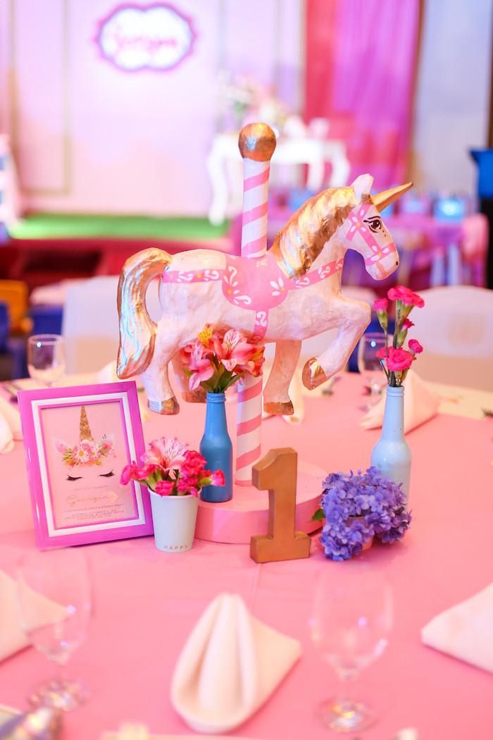 Unicorn Party Centerpiece Ideas  Kara s Party Ideas Flowers Twinkles & Unicorn Birthday