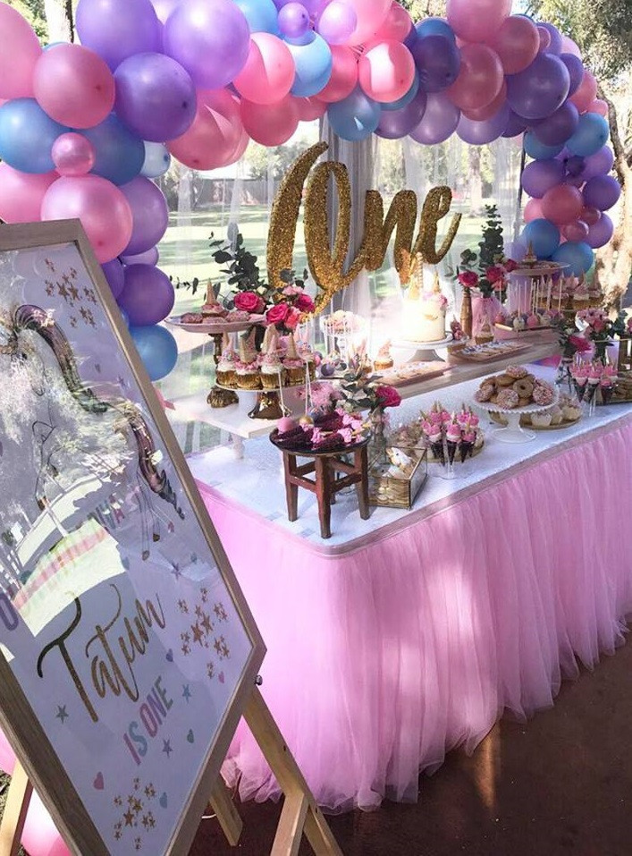 Unicorn Party Centerpiece Ideas  Magical Unicorn First Birthday Party Birthday Party