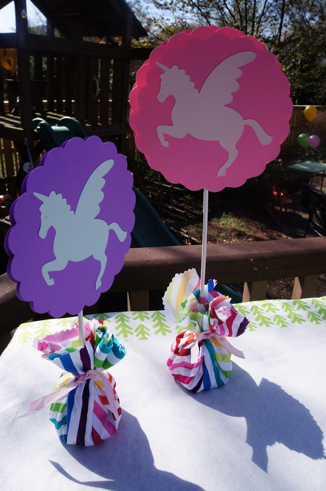 Unicorn Party Centerpiece Ideas  namesake design Rainbows and Unicorns Party