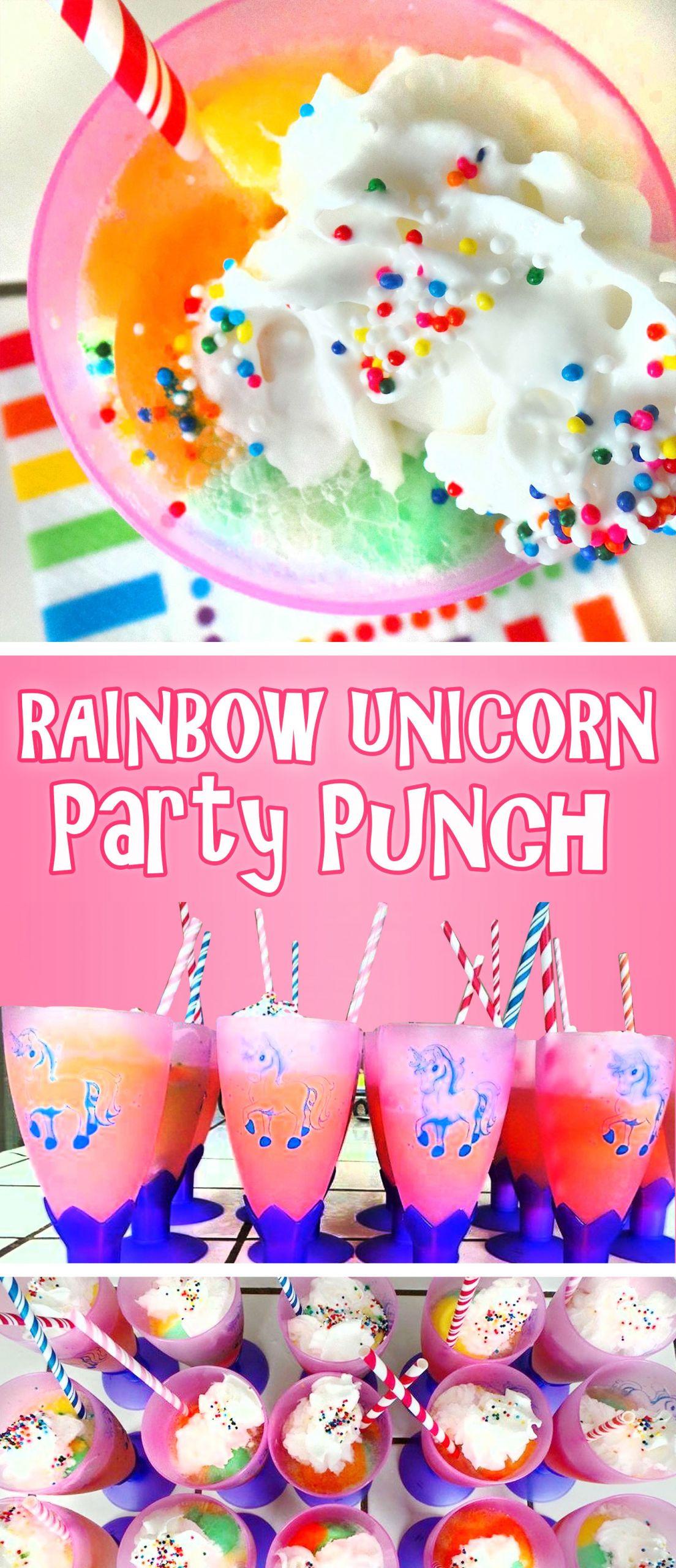Unicorn Party Theme Food Ideas  Rainbow Unicorn Party Punch