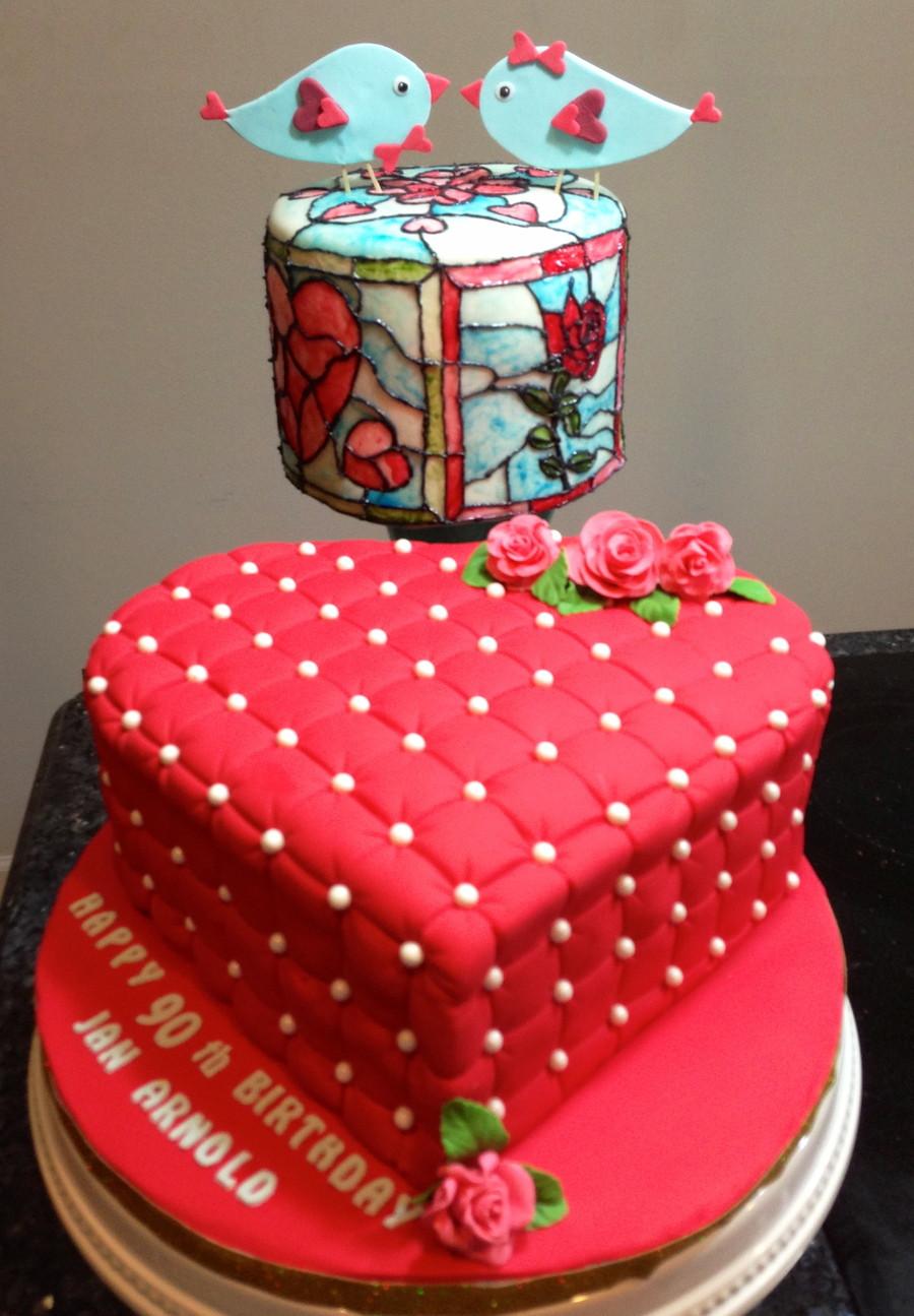 Valentine Birthday Cake  1St Attempt At Stained Glass Technique Valentinesbirthday