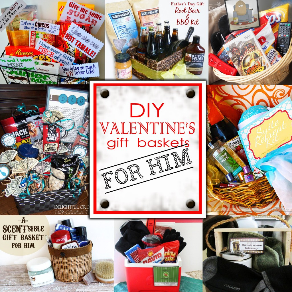 Valentines Gift For Guys Ideas  DIY Valentine s Day Gift Baskets For Him Darling Doodles