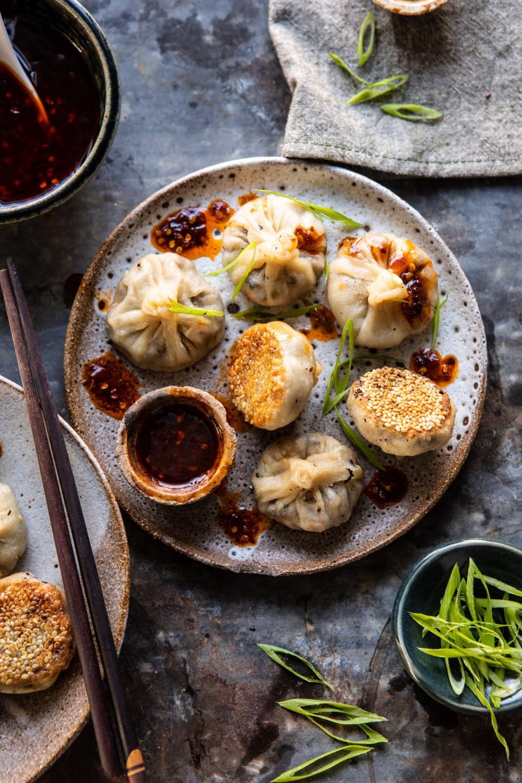 Vegetarian Chinese Dumplings Recipe  Chinese Mushroom Dumplings with Sweet Chili Ginger Sesame