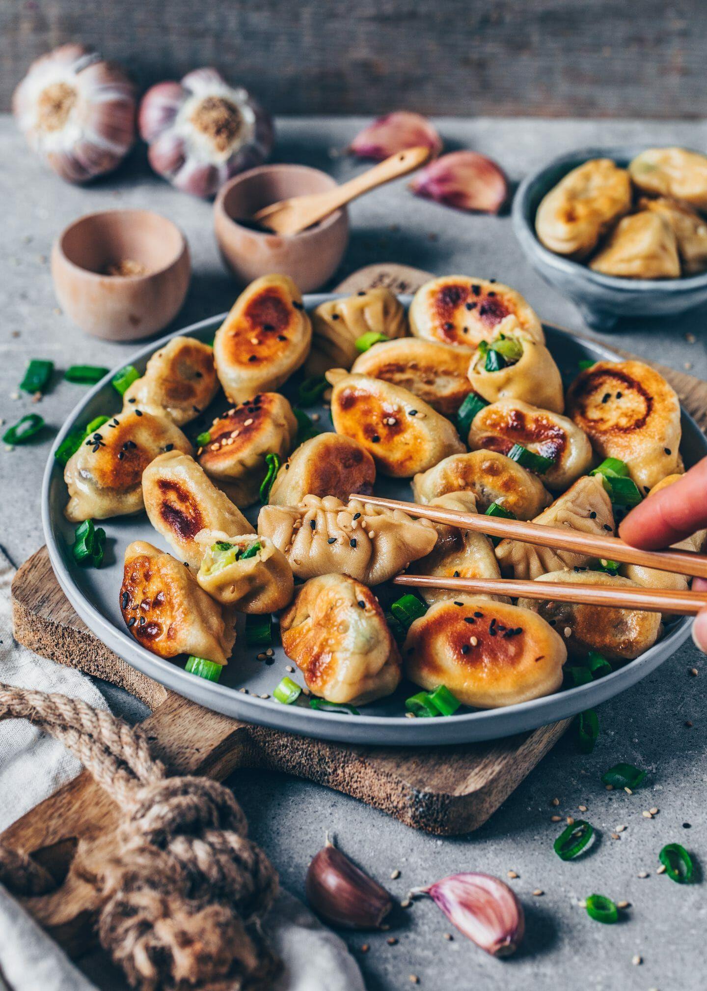 Vegetarian Chinese Dumplings Recipe  Ve able Dumplings Vegan Gyoza Potstickers
