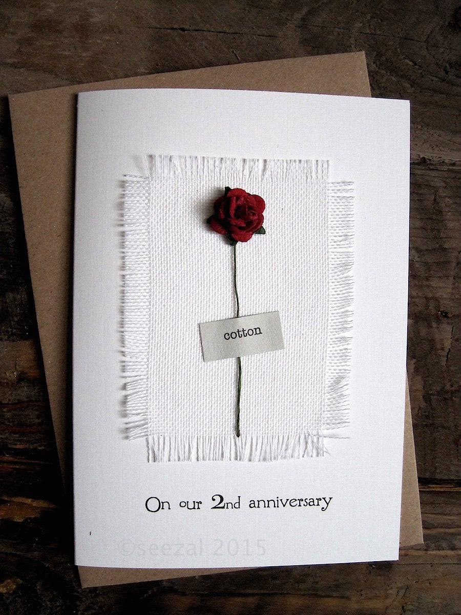 Wedding Anniversary Gift Ideas For Wife  2nd Anniversary Keepsake COTTON Card Cotton Fabric with a