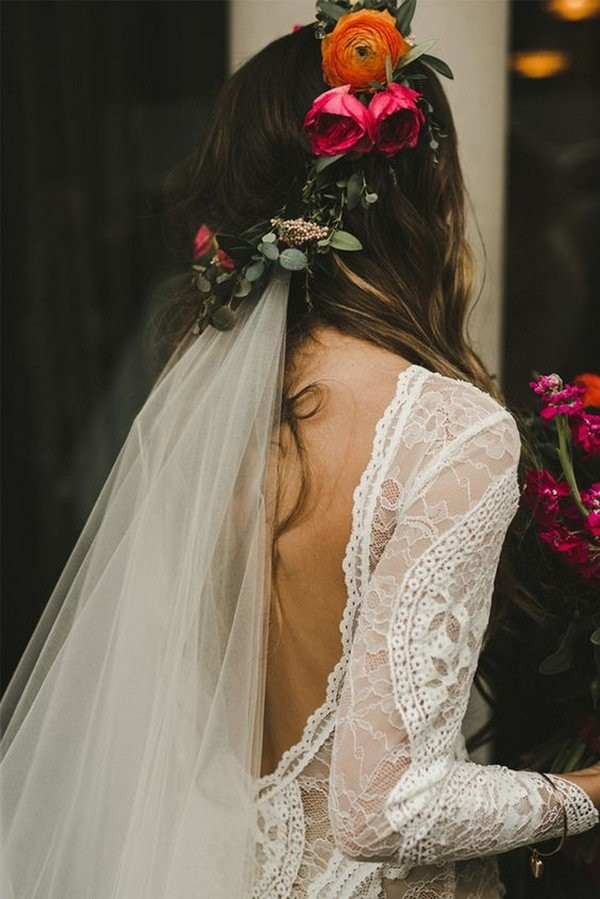 Wedding Hair Styles With Veil  Top 10 Wedding Hairstyles with Flower Crown Veil for 2018