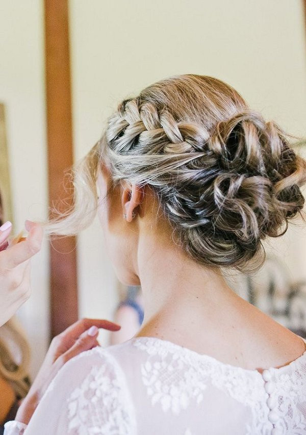 Wedding Hairstyles With Braids For Long Hair  braided bun wedding hairstyle for long hair