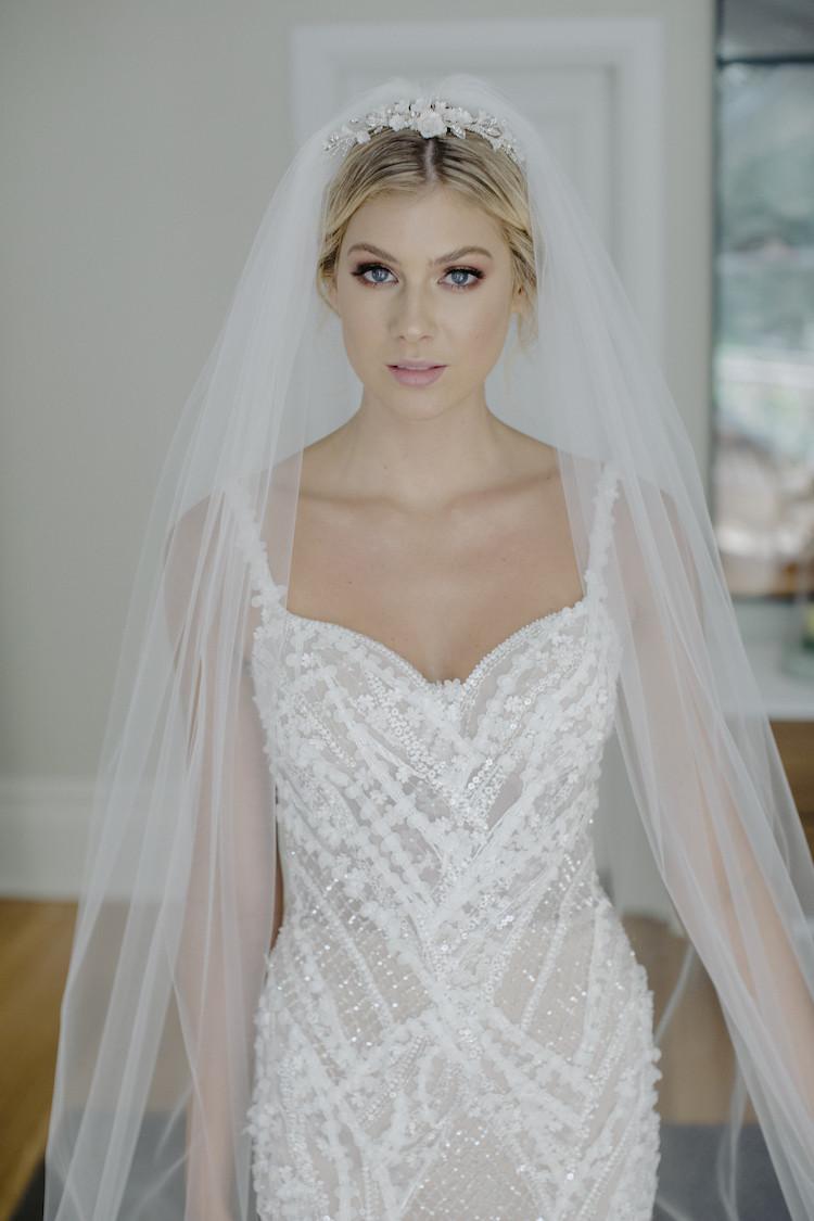 Wedding Veil With Tiara  CLARABEL floral bridal tiara TANIA MARAS