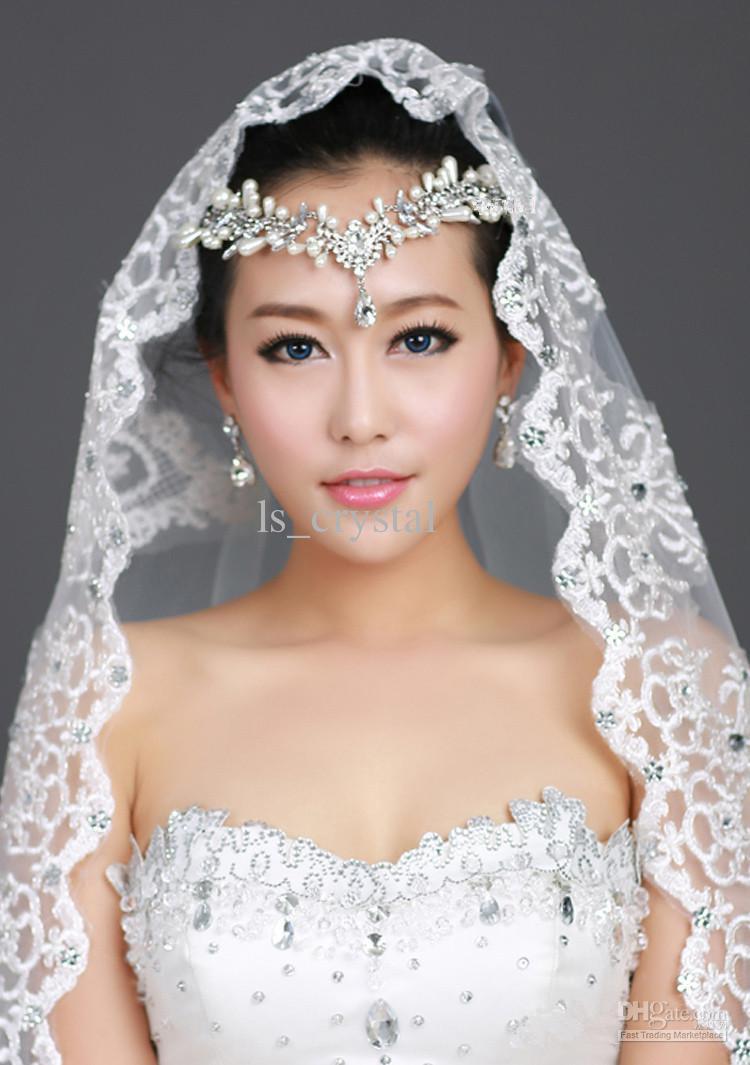 Wedding Veil With Tiara  New 1T Ivory Ribbon Lace Bridal Veil Rhinestone Frontlet
