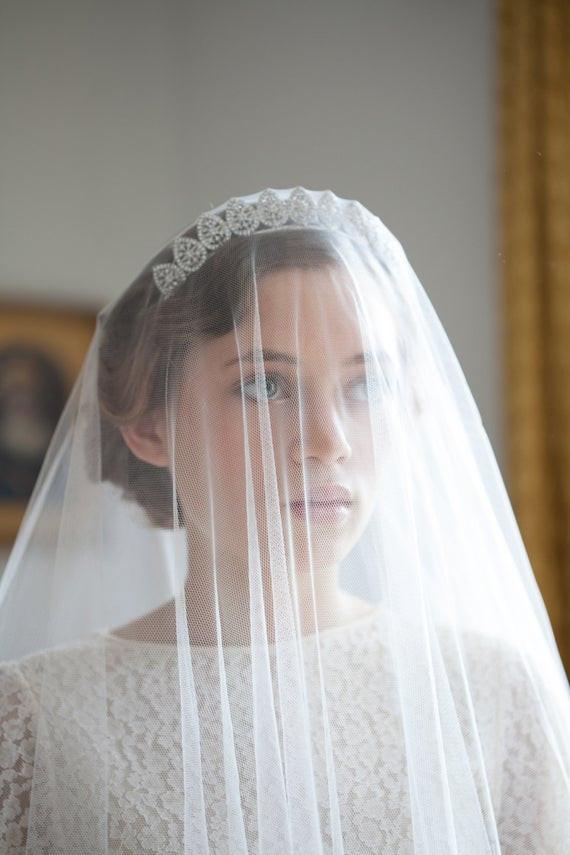 Wedding Veil With Tiara  Vintage Wedding Veil and Tiara Bridal Crown Antique style