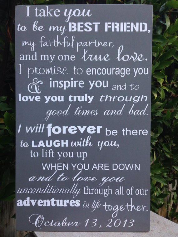Wedding Vows For Him  Modern 6th Anniversary Gift Wedding Vows Wood Sign 12 x