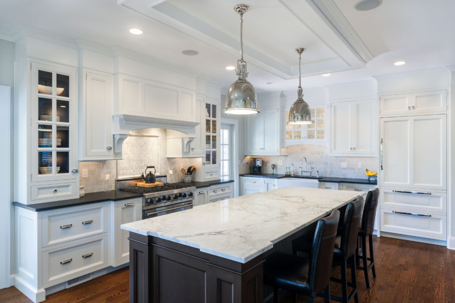 White Marble Top Kitchen Island  36 Marbled Countertops To Ignite Your Kitchen Revamp