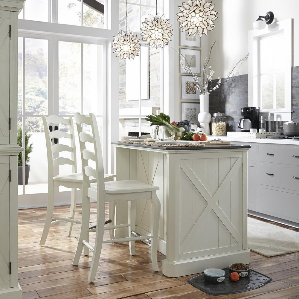 White Marble Top Kitchen Island  Home Styles Seaside Lodge Hand Rubbed White Kitchen Island