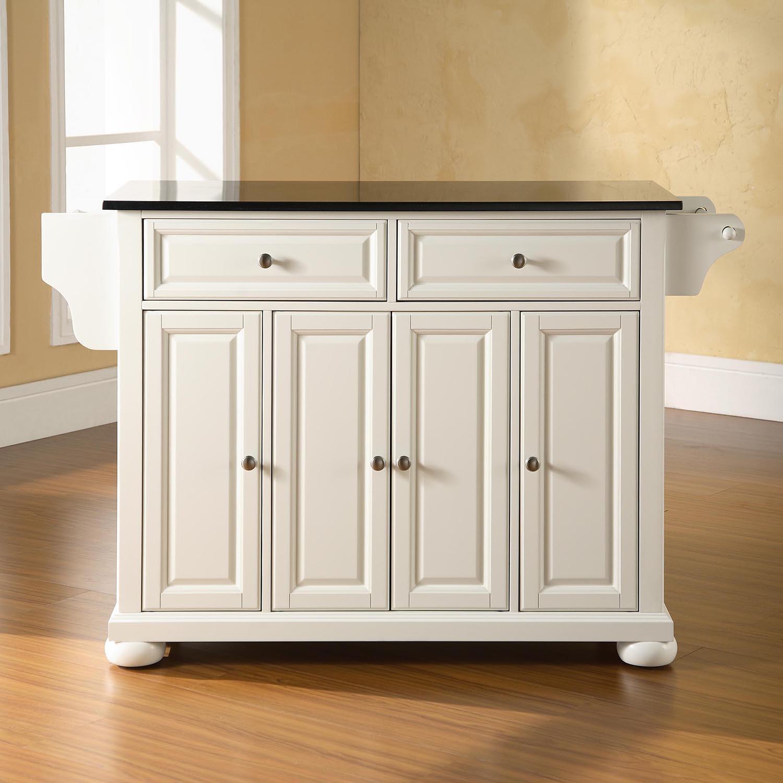 White Marble Top Kitchen Island  Alexandria Solid Black Granite Top Kitchen Island White