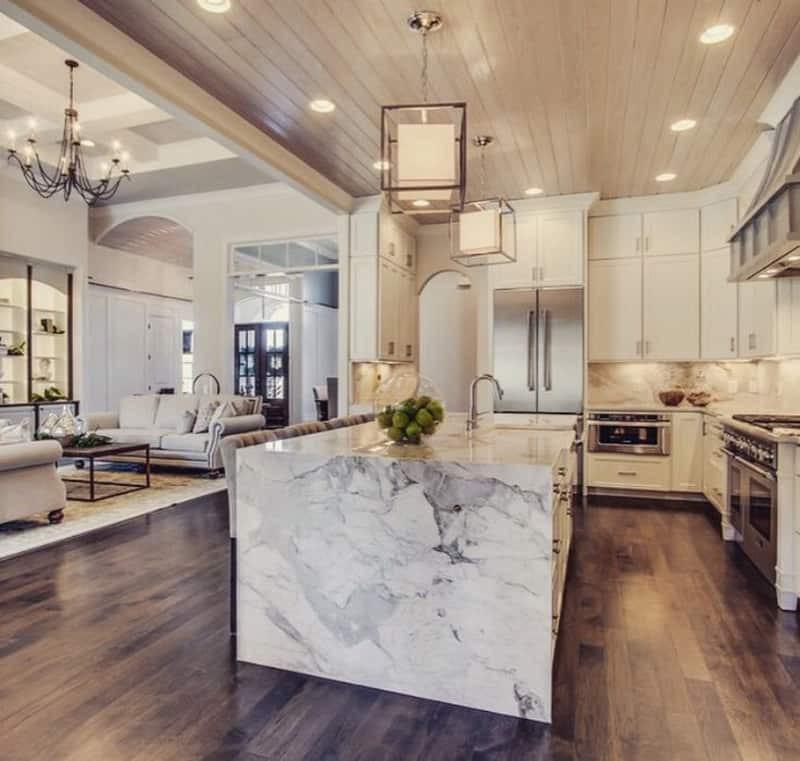 White Marble Top Kitchen Island  50 Examples Marble Kitchen Speak About High End Tastes