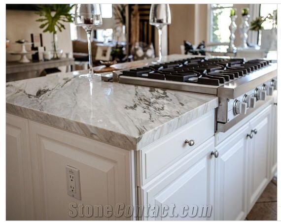 White Marble Top Kitchen Island  Arabescato Collettino White Marble Island Top Kitchen
