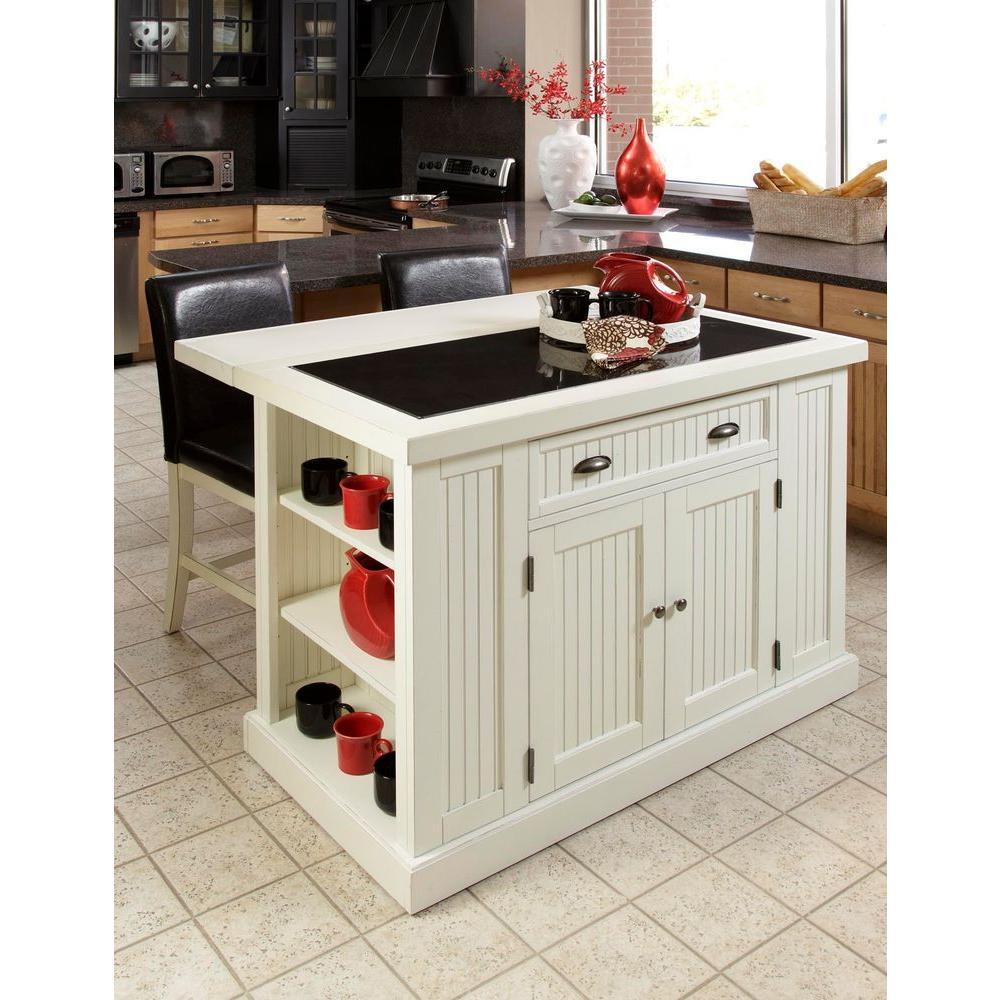 White Marble Top Kitchen Island  Home Styles Nantucket White Kitchen Island With Granite