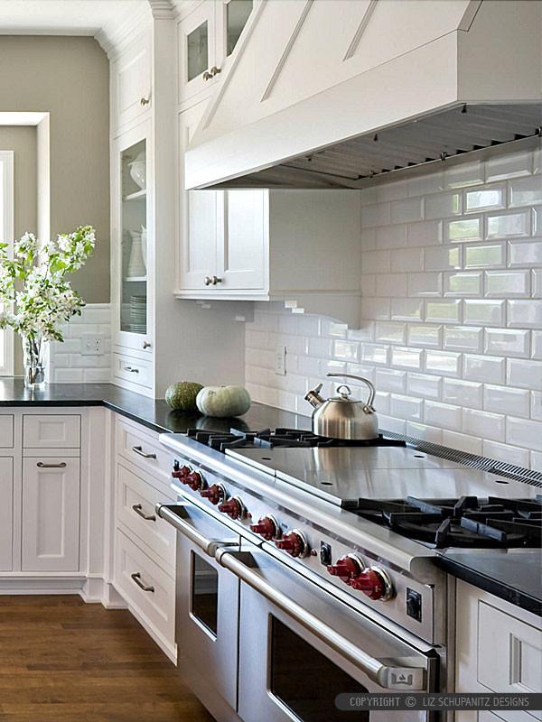 White Tile Kitchen Backsplash  BA White 3x6 Ceramic Tile With Bevel