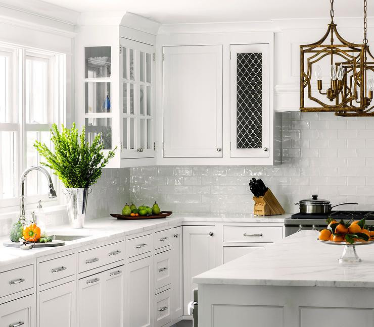 White Tile Kitchen Backsplash  White Kitchen with White Glazed Subway Backsplash Tiles