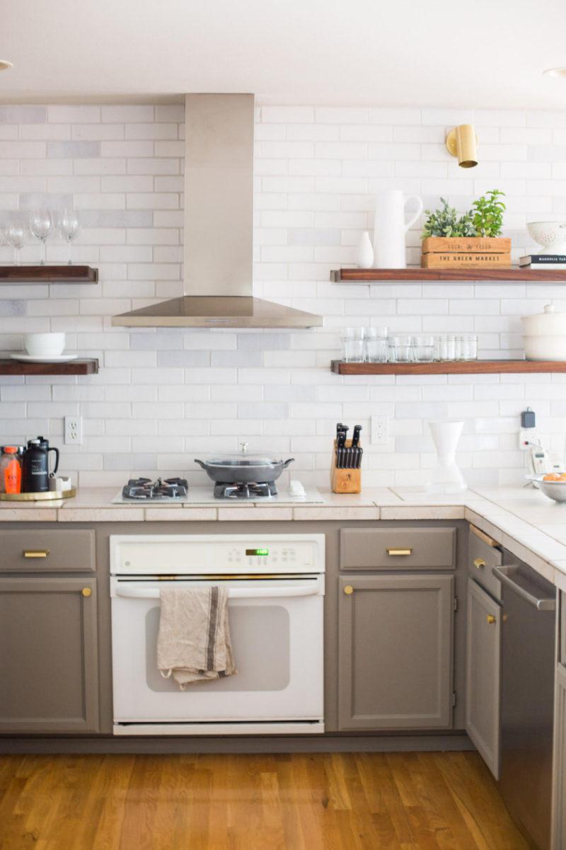 White Tile Kitchen Backsplash  Rustic White Brick Kitchen Backsplash