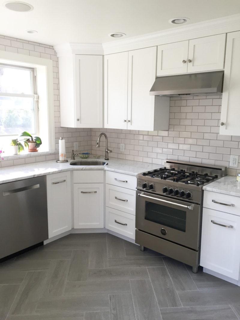 White Tile Kitchen Backsplash  Gray & White Kitchen with Subway Tile Backsplash in