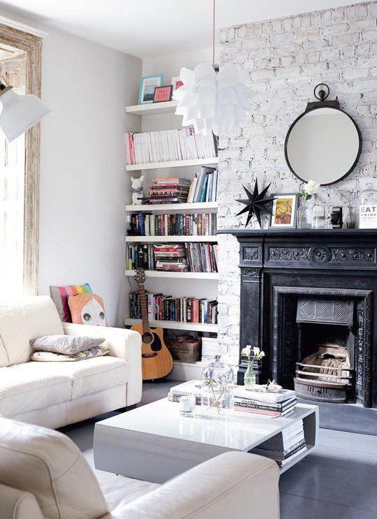 White Walls Living Room  30 White Brick Wall Interior Designs