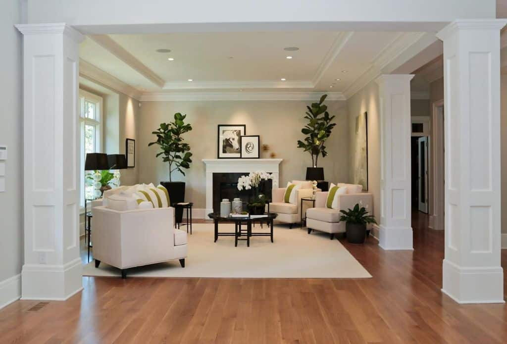 White Walls Living Room  41 Living Rooms with Hardwood Floors