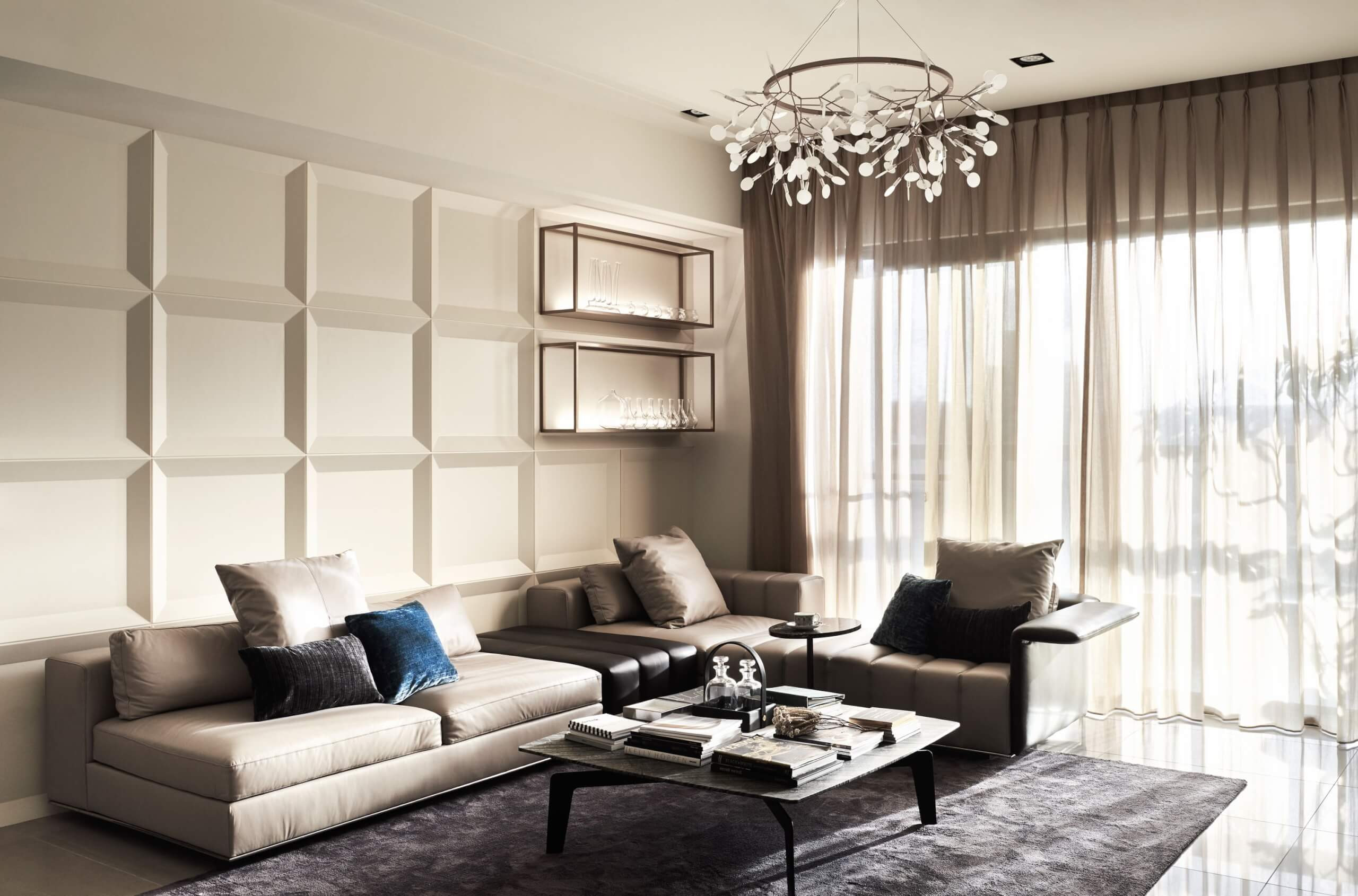 White Walls Living Room  This Sophisticated Taiwan Home Chooses Marble Over Plain