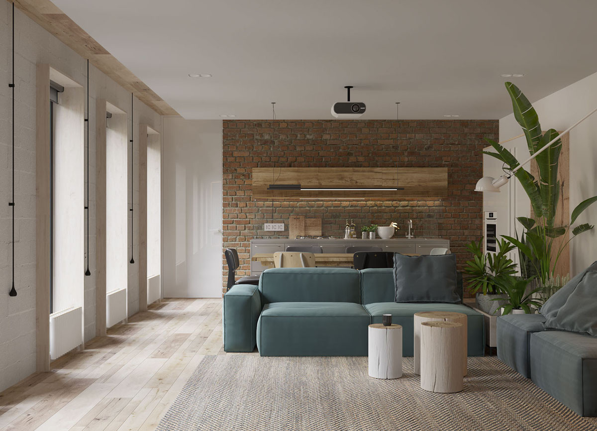 White Walls Living Room  White Walls and Exposed Brick Go Minimalist in This Couple