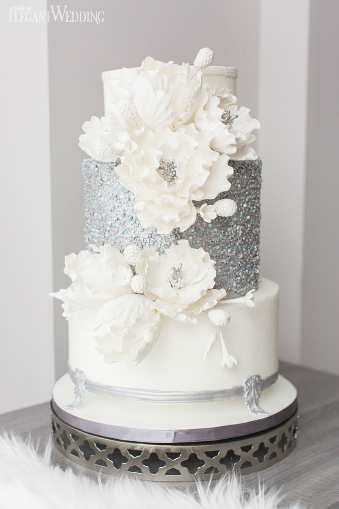 Winter Themed Wedding Cakes  Luxurious Blue & White Winter Wedding Theme