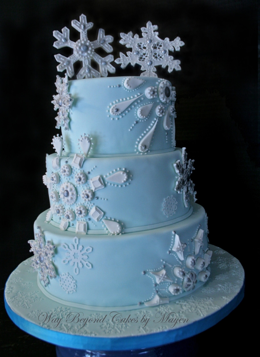 Winter Themed Wedding Cakes  Snowflake Themed Wedding Cake CakeCentral