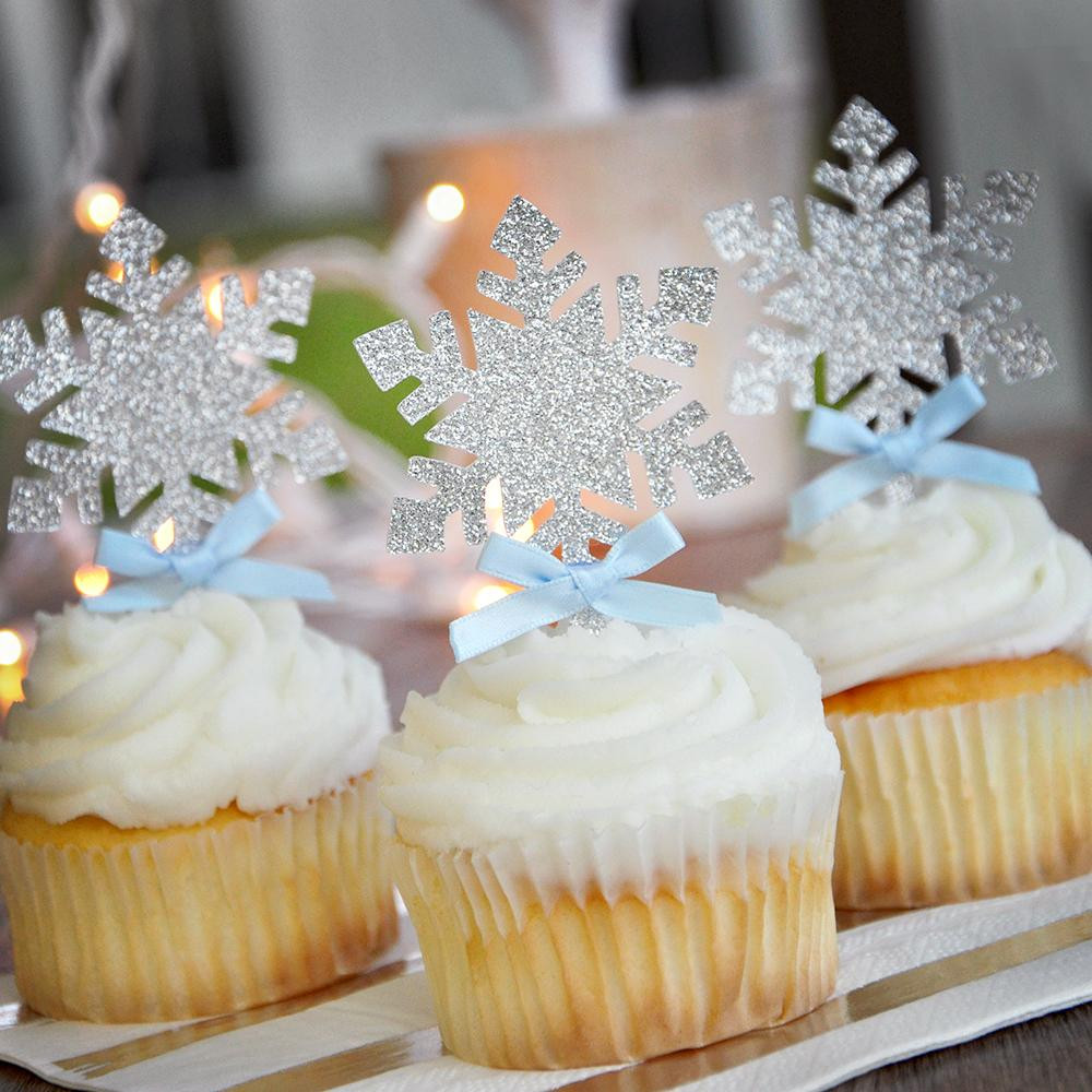 Winter Wonderland Cupcakes  Snowflake Cupcake Toppers 12CT Ships in 1 3 Business Days
